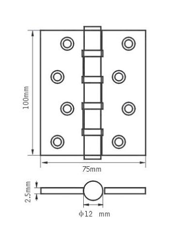 Петля дверная врезная универсальная Renz 100-4BB
